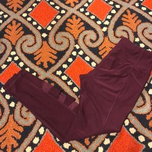 Purple Athletic Leggings with sheer inserts